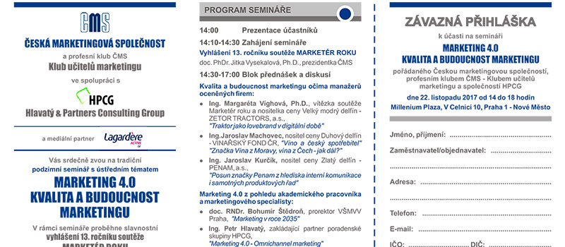 Seminář MARKETING 4.0 - KVALITA A BUDOUCNOST MARKETINGU